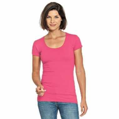 Fuchsia roze shirt ronde hals dames
