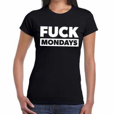 Fuck mondays fun t shirt zwart dames