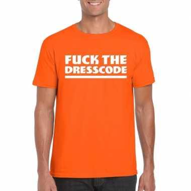 Fuck the dresscode fun t shirt heren oranje