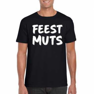 Fun t shirt feestmuts zwart heren