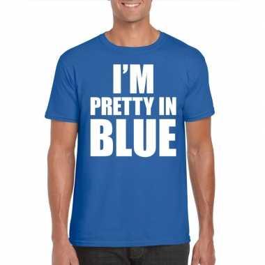 Fun t shirt i am pretty blue blauw heren