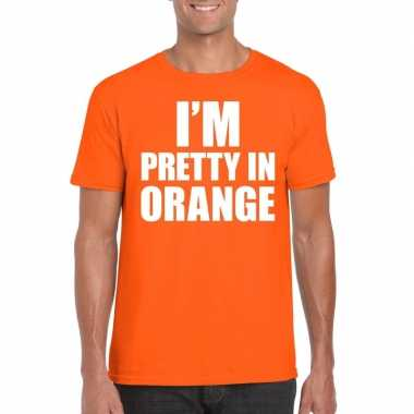 Fun t shirt i am pretty orange oranje heren