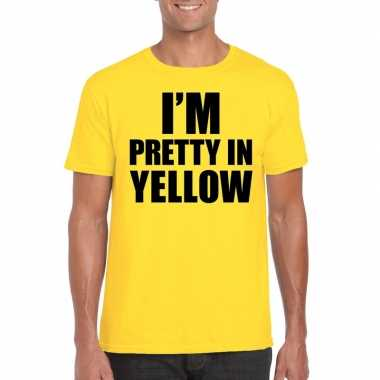 Fun t shirt i am pretty yellow geel heren
