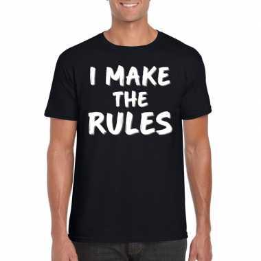 Fun t shirt i make the rules zwart heren