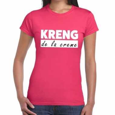 Fun t shirt kreng la creme roze dames