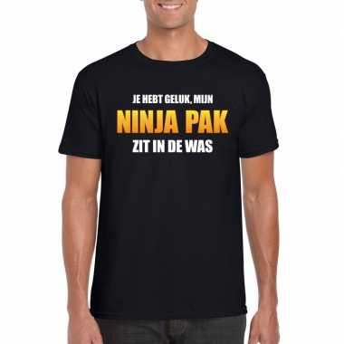 Fun t shirt ninjapak was zwart heren