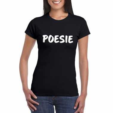 Fun t shirt poesie zwart dames