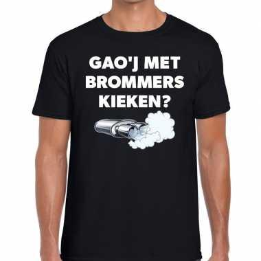 Gaoj brommers kieken zwarte cross achterhoek t shirt zwart heren