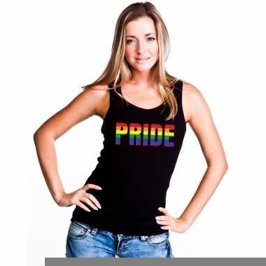 Gay mouwloos shirt pride regenboog letters zwart dames