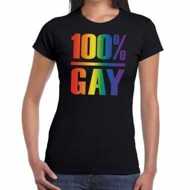 Gay pride 100 procent gay tekst/fun shirt zwart dames