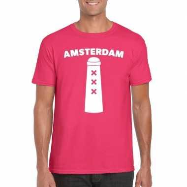 Gay pride amsterdam shirt roze amsterdammertje heren