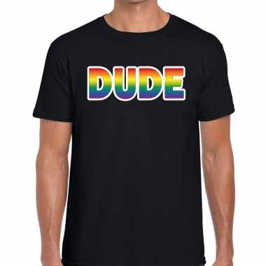 Gay pride dude tekst/fun shirt zwart heren