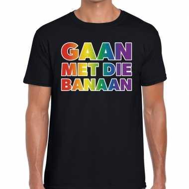 Gay pride gaan die banaan shirt zwart heren