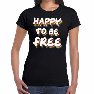 Gay pride happy to be free shirt zwart dames