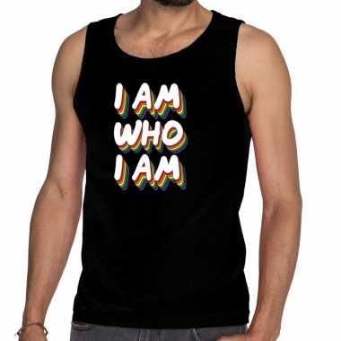 Gay pride i am who i am shirt zwart heren