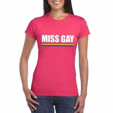 Gay pride lesbo shirt roze miss gay dames