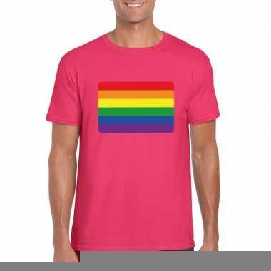 Gay pride/ lgbt shirt regenboog vlag roze heren