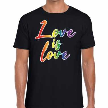 Gay pride love is love pride tekst/fun shirt zwart heren
