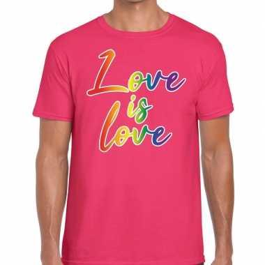 Gay pride love is love shirt roze heren
