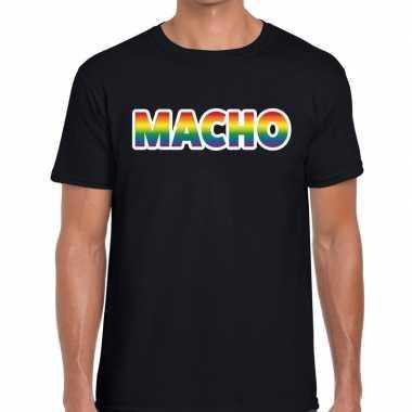 Gay pride macho tekst/fun shirt zwart heren
