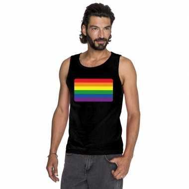Gay pride mouwloos shirt regenboog vlag zwart heren