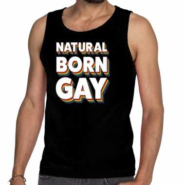 Gay pride natural born gay shirt zwart heren