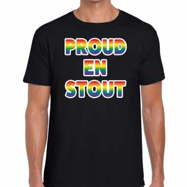 Gay pride proud stout shirt zwart heren