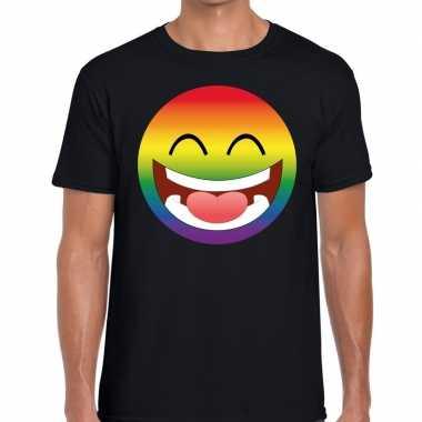 Gay pride regenboog emoticon fshirt zwart heren
