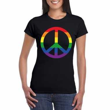 Gay pride regenboog peace teken shirt zwart dames