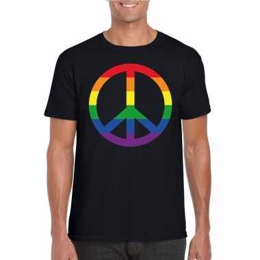 Gay pride regenboog peace teken shirt zwart heren