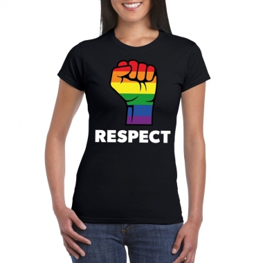 Gay pride respect lgbt shirt zwart dames