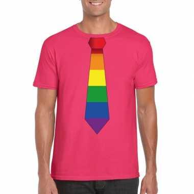 Gay pride shirt regenboog stropdas roze heren