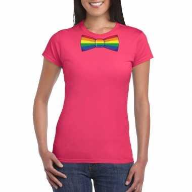 Gay pride shirt regenboog vlinderstrikje roze dames