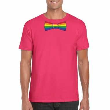 Gay pride shirt regenboog vlinderstrikje roze heren