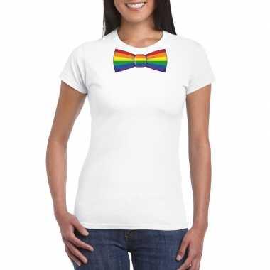 Gay pride shirt regenboog vlinderstrikje wit dames