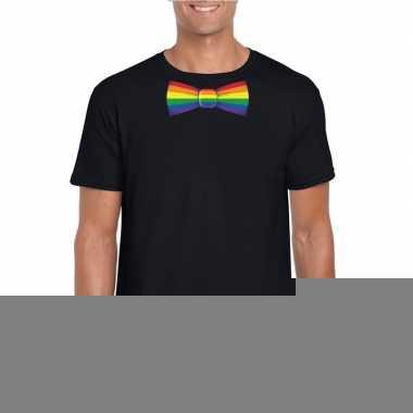 Gay pride shirt regenboog vlinderstrikje zwart heren