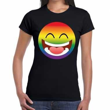 Gay pride smiley figuur shirt zwart dames
