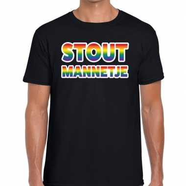 Gay pride stout mannetje shirt zwart heren