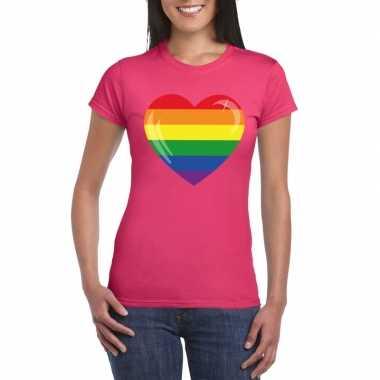 Gay pride t shirt regenboog vlag hart roze dames