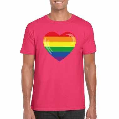 Gay pride t shirt regenboog vlag hart roze heren
