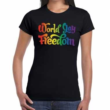 Gay pride world gay freedom shirt zwart dames