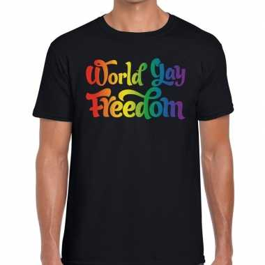 Gay pride world gay freedom shirt zwart heren