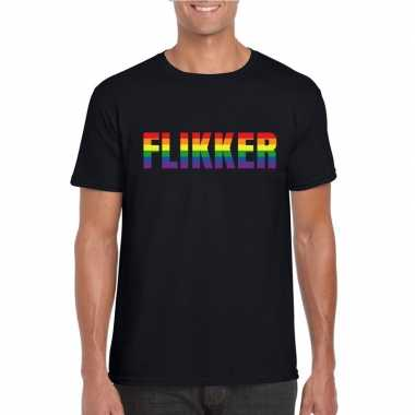 Gay shirt flikker regenboog letters zwart heren