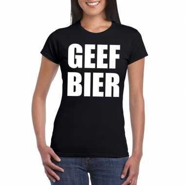 Geef bier fun t-shirt dames zwart