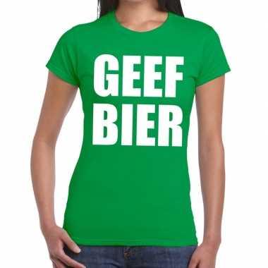 Geef bier fun t shirt groen dames