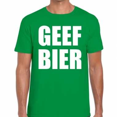 Geef bier fun t shirt groen heren