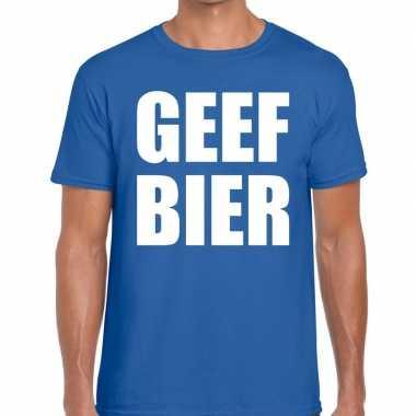 Geef bier fun t shirt heren blauw