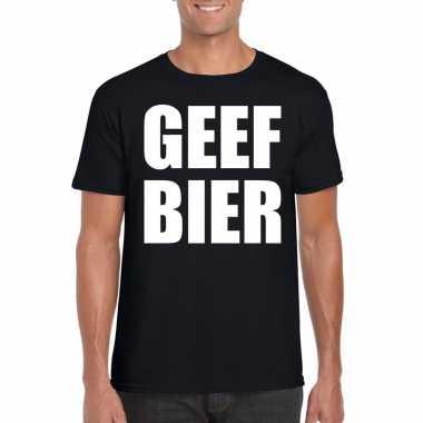 Geef bier fun t shirt heren zwart