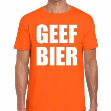 Geef bier fun t shirt oranje heren