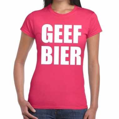 Geef bier fun t shirt roze dames